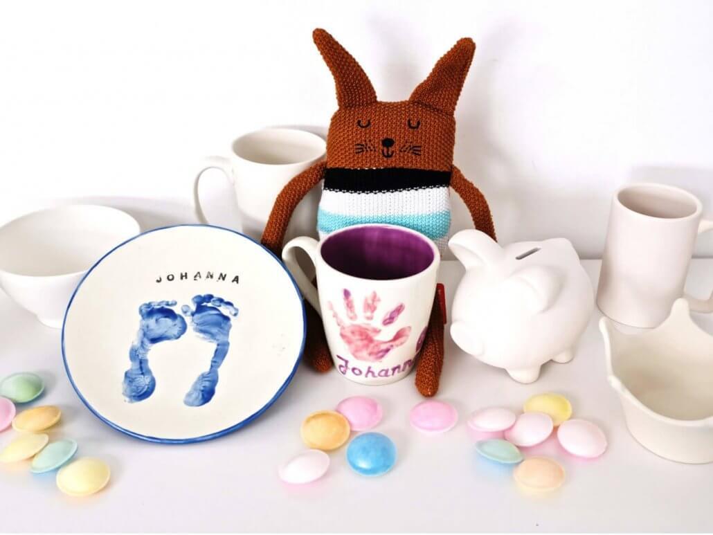 Keramik bemalen Neuss Potteria - Baby-Fussabdruecke