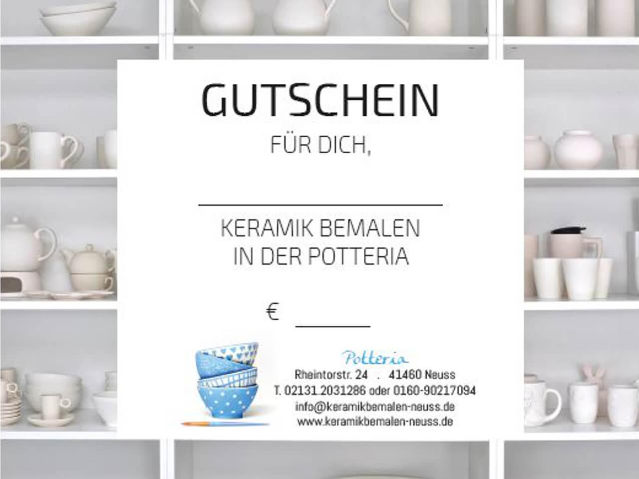 Keramik bemalen Neuss Potteria - Gutschein